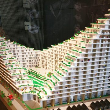 Lego model of a building design by BIG architecture